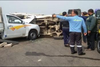 إصابة شخصين فى حادث انقلاب سيارة أمام قرية