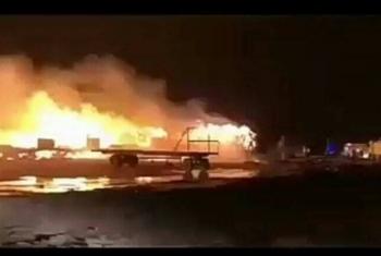 إصابة شخص في حريق داخل ورشة حدادة بالعاشر من رمضان