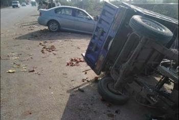 إصابة 13 شخصا في حادث تصادم بفاقوس
