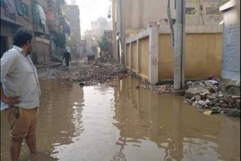 تراكم مياه الأمطار يعيق الحركة في قرية سنهوت بمنيا القمح
