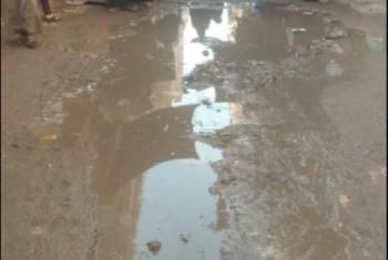 كسر بماسورة مياه في أحد شوارع ههيا