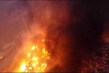 حريق ورشة أخشاب في قرية الرحمانية بأبوكبير