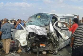 مصرع وإصابة 10 في حادث انقلاب سيارة بطريق بلبيس - العاشر من مضان