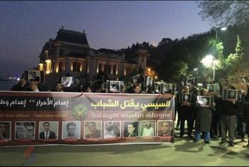 وقفة لأحرار مصر أمام القنصلية المصرية بإسطنبول تنديدًا بإعدام الأبرياء