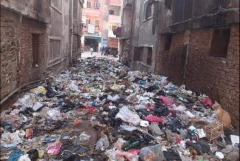 بالصور.. منطقة سعدون في بلبيس تغرق بالقمامة والمجاري وانتشار الحشرات الضارة