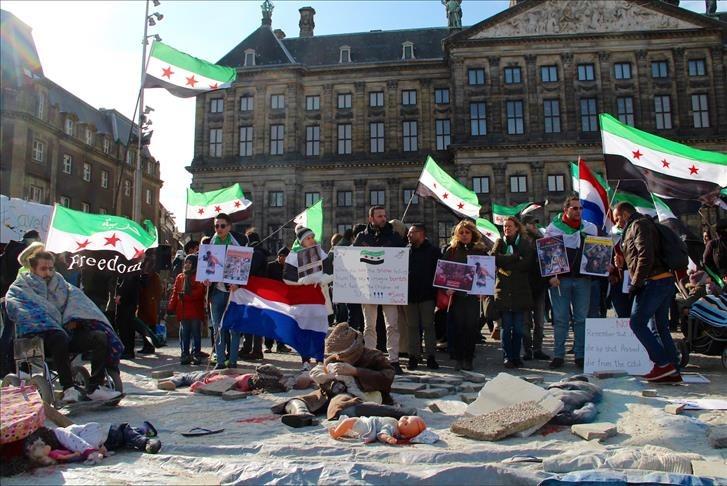 مظاهرة في العاصمة الهولندية تنديدًا بقصف