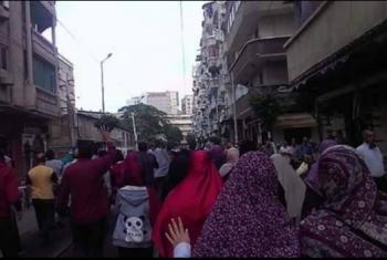 مظاهرات تدعو لإسقاط الانقلاب في عزبة سعد بالإسكندرية