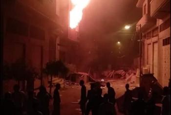 حريق هائل في مخزن أخشاب ببلبيس
