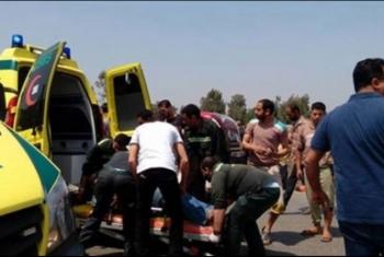 إصابة 11 مواطنا إثر حادث اصطدام بطريق بلبيس - العاشر من رمضان