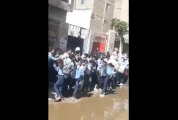 مياه الصرف الصحي تغرق محيط مدرسة بالزقازيق