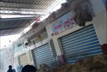 حريق بسوق أبو شرة للخضار بأبوكبير
