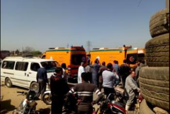 بالصور.. إصابة 9 أشخاص جراء انقلاب سيارة  بأبوكبير