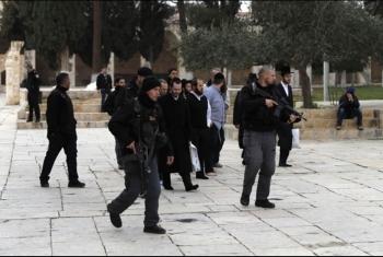 العدو الصهيوني يقتحم باحات المسجد الأقصى