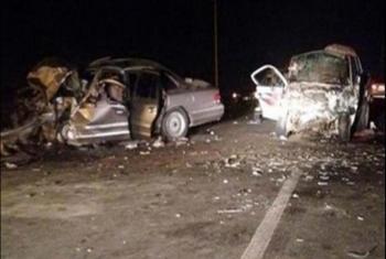 مصرع 4 أشخاص وإصابة خامس في تصادم 3 سيارات بالمنيا