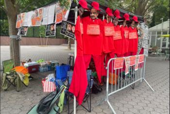 استمرار اعتصام نشطاء أمام الأمم المتحدة رفضا لأحكام الإعدام